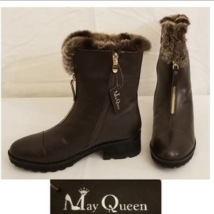 Fur lining leather boots